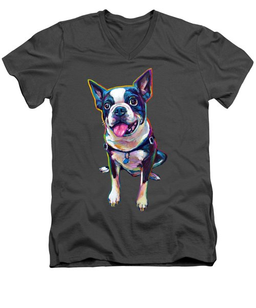 Louie The Boston Terrier Men's V-Neck T-Shirt