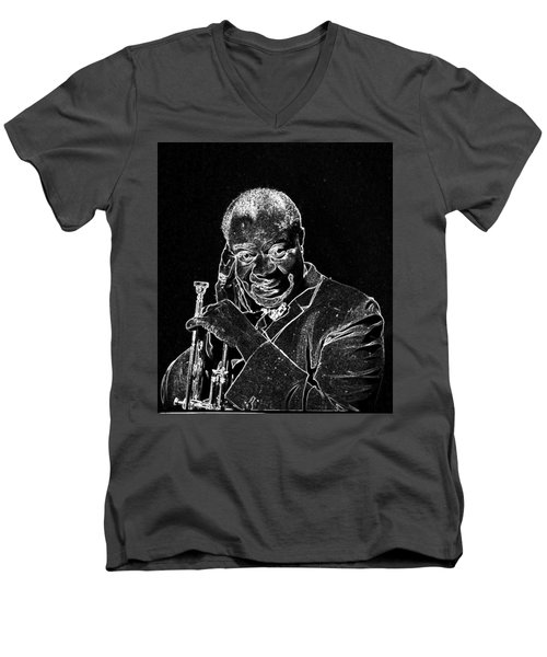 Men's V-Neck T-Shirt featuring the mixed media Louis Armstrong by Charles Shoup