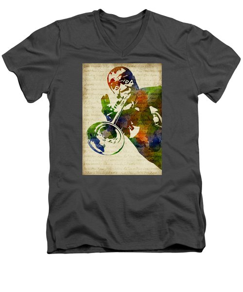Louis Armstrong Watercolor Men's V-Neck T-Shirt by Mihaela Pater