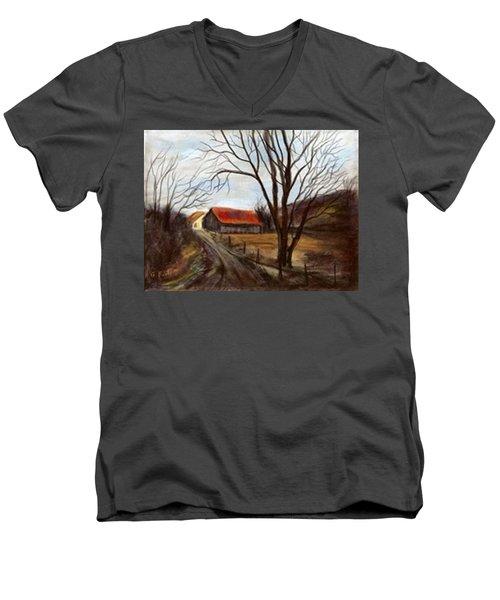 Men's V-Neck T-Shirt featuring the painting Louisa Kentucky Barn by Gail Kirtz