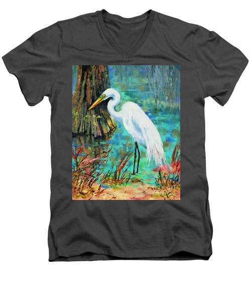 Men's V-Neck T-Shirt featuring the painting Louisiana Male Egret by Dianne Parks
