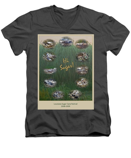 Louisiana Sugar Cane Poster 2008-2009 Men's V-Neck T-Shirt by Ronald Olivier