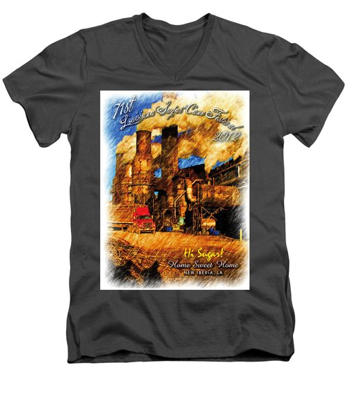 Louisiana Sugar Cane Poster 2012 Men's V-Neck T-Shirt by Ronald Olivier