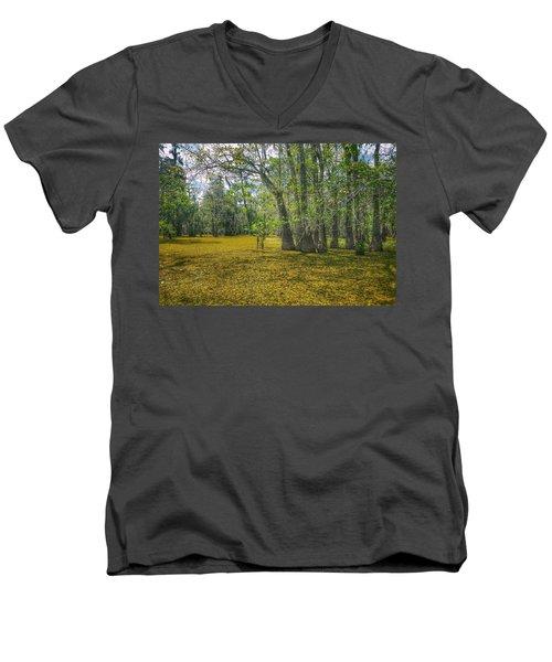 Louisiana Swamp In Gold Men's V-Neck T-Shirt