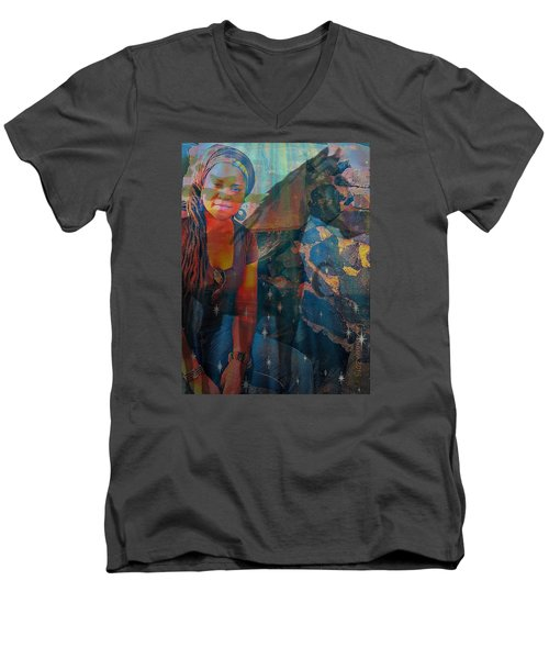 Men's V-Neck T-Shirt featuring the digital art Loulou And Me by Fania Simon