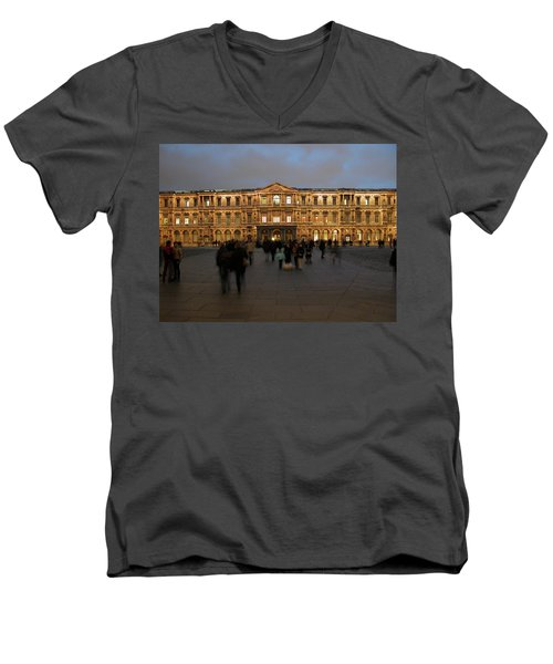 Men's V-Neck T-Shirt featuring the photograph Louvre Palace, Cour Carree by Mark Czerniec