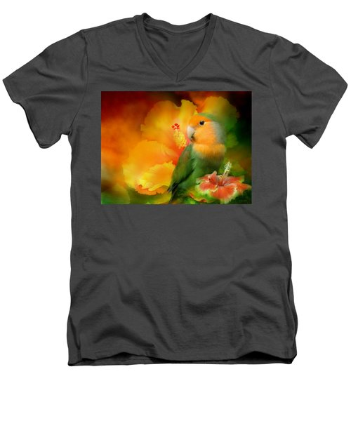Love Among The Hibiscus Men's V-Neck T-Shirt