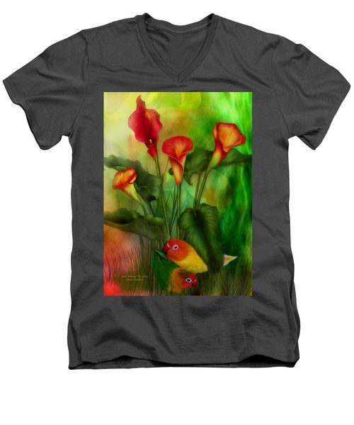 Love Among The Lilies  Men's V-Neck T-Shirt
