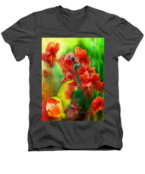 Love Among The Poppies Men's V-Neck T-Shirt