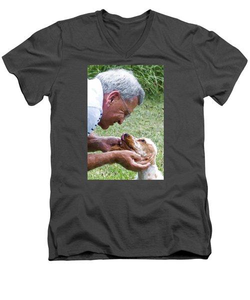 Love At First Sight Men's V-Neck T-Shirt by Susan Molnar