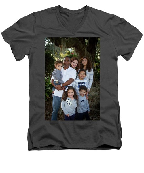 Men's V-Neck T-Shirt featuring the photograph Love Demonstrated James Ingram Family Art by Reid Callaway