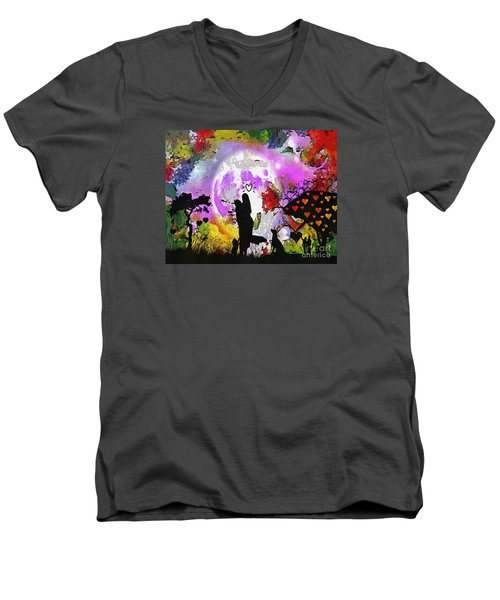 Love Family And Friendship In The Mix Men's V-Neck T-Shirt by Catherine Lott