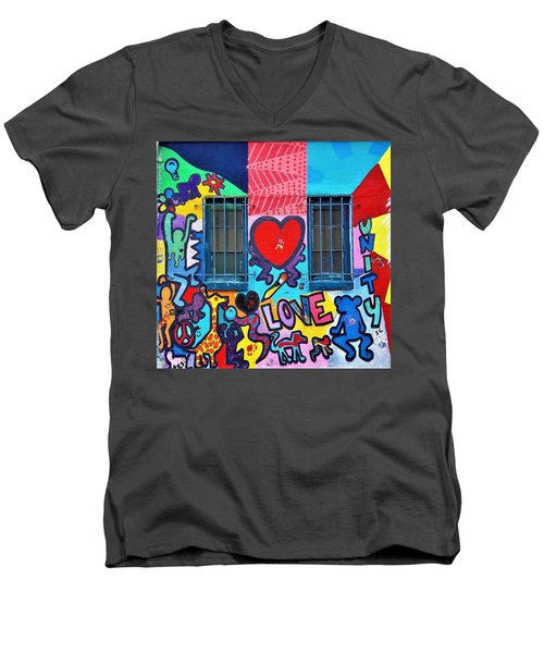 Love Haring  Men's V-Neck T-Shirt