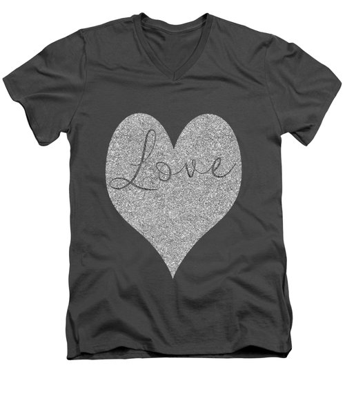 Love Heart Glitter Men's V-Neck T-Shirt by Clare Bambers