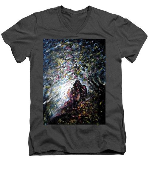 Love In Niagara Fall Men's V-Neck T-Shirt by Harsh Malik
