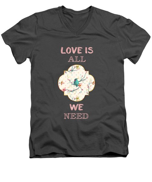 Men's V-Neck T-Shirt featuring the digital art Love Is All We Need Typography Hummingbird And Butterflies by Georgeta Blanaru