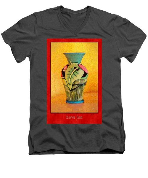 Love Jar Red Background Men's V-Neck T-Shirt