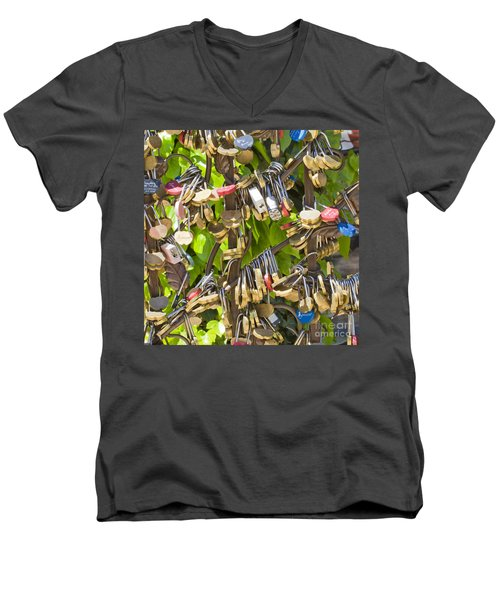 Men's V-Neck T-Shirt featuring the photograph Love Locks Square by Chris Dutton