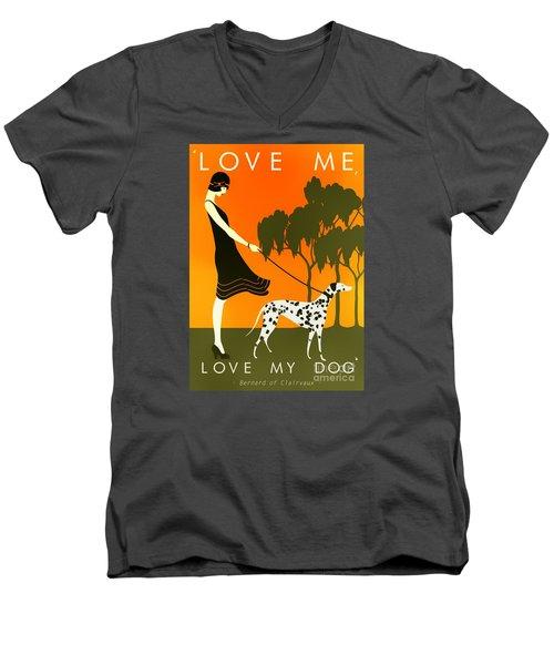 Love Me Love My Dog - 1920s Art Deco Poster Men's V-Neck T-Shirt