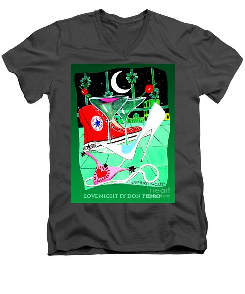 Men's V-Neck T-Shirt featuring the painting Love Night by Don Pedro De Gracia