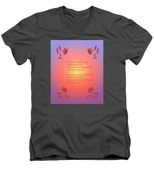 Men's V-Neck T-Shirt featuring the digital art Love Poetry by Karen Nicholson