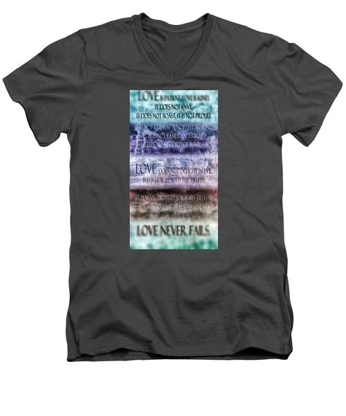 Men's V-Neck T-Shirt featuring the digital art Love Rejoices With The Truth by Angelina Vick