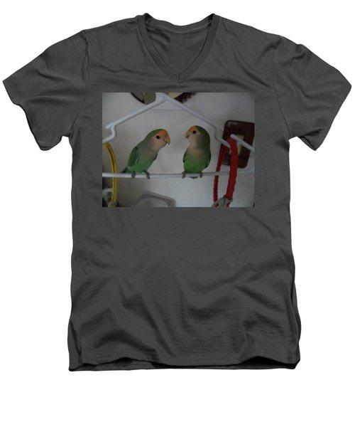 Lovebirds Men's V-Neck T-Shirt by Val Oconnor
