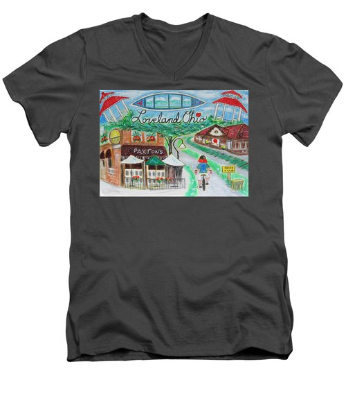 Men's V-Neck T-Shirt featuring the painting Loveland Ohio by Diane Pape