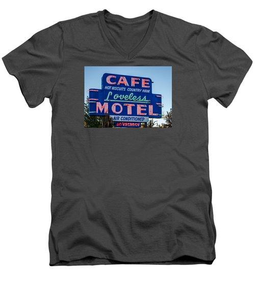 Loveless Cafe And Motel Sign Men's V-Neck T-Shirt