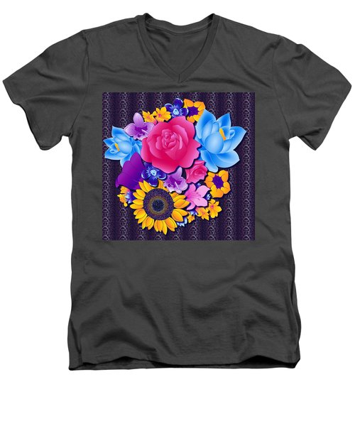 Lovely Bouquet Men's V-Neck T-Shirt by Samantha Thome