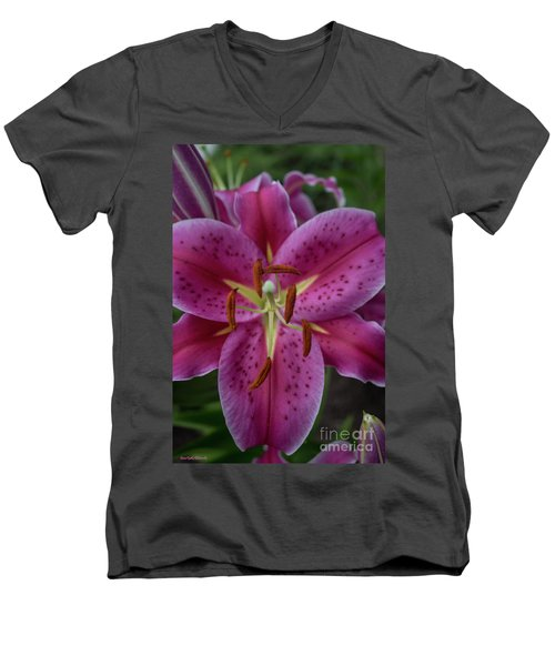 Lovely Lily Men's V-Neck T-Shirt by Roberta Byram