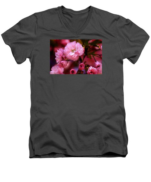 Lovely Spring Pink Cherry Blossoms Men's V-Neck T-Shirt by Shelley Neff