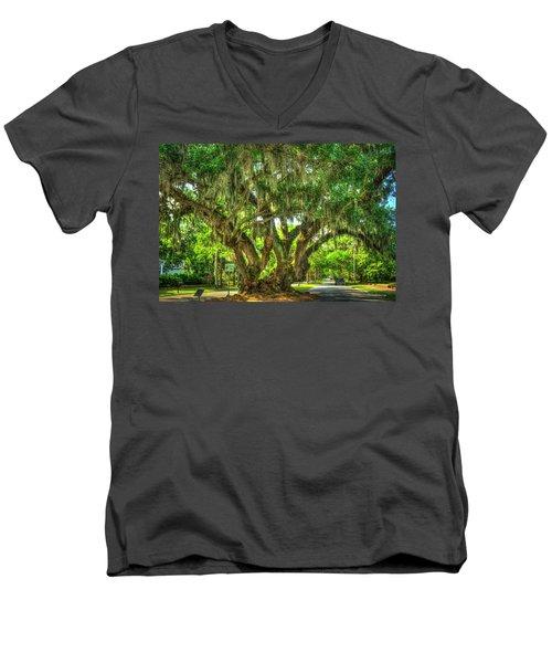 Lovers Oak Live Oak Tree Brunswick Georgia Art Men's V-Neck T-Shirt