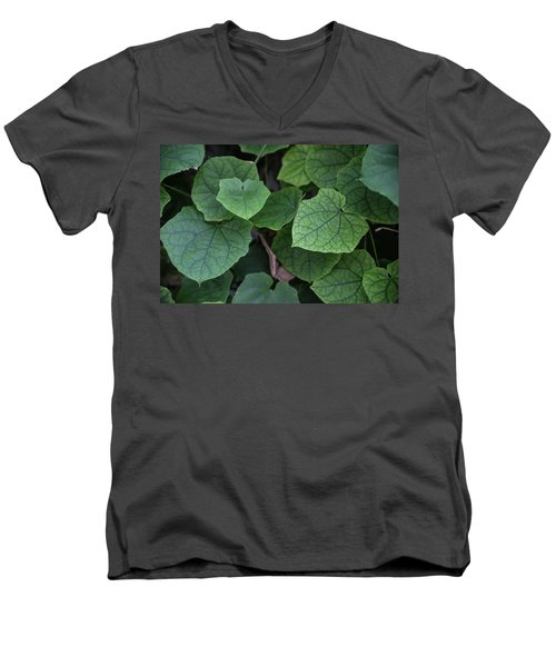 Men's V-Neck T-Shirt featuring the photograph Low Key Green Vines by Jingjits Photography