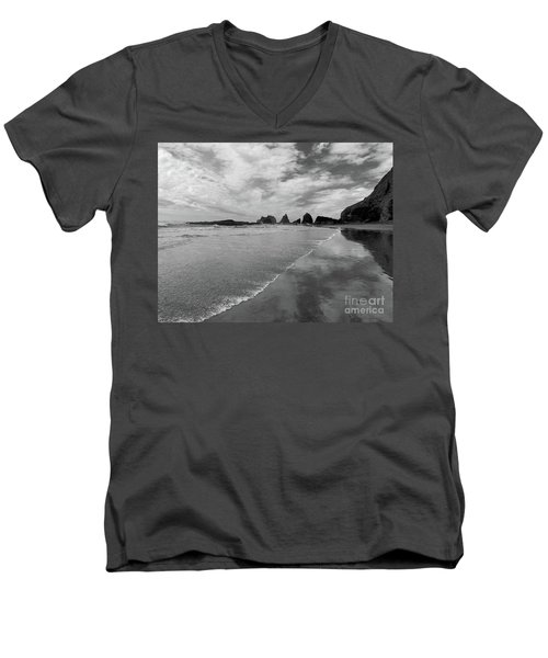 Low Tide - Black And White Men's V-Neck T-Shirt by Scott Cameron