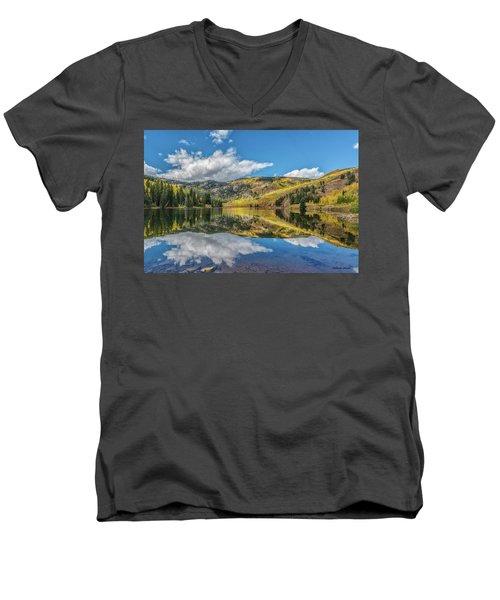 Lower Cataract Lake Aspen Men's V-Neck T-Shirt by Stephen Johnson