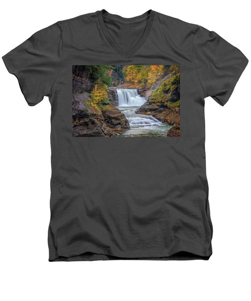 Lower Falls In Autumn Men's V-Neck T-Shirt