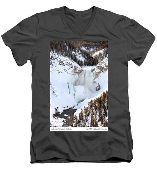 Lower Falls In The Grand Canyon Of The Yellowstone River Men's V-Neck T-Shirt by Carol M Highsmith