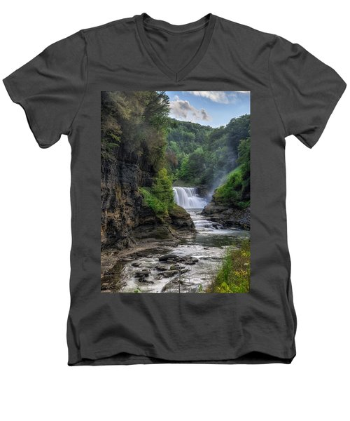 Men's V-Neck T-Shirt featuring the photograph Lower Falls - Summer by Mark Papke