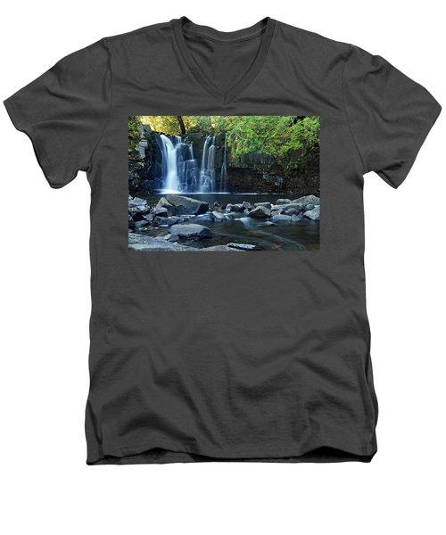 Lower Johnson Falls Men's V-Neck T-Shirt by Larry Ricker