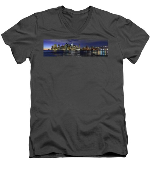 Lower Manhattan From Brooklyn Heights At Dusk - New York City Men's V-Neck T-Shirt