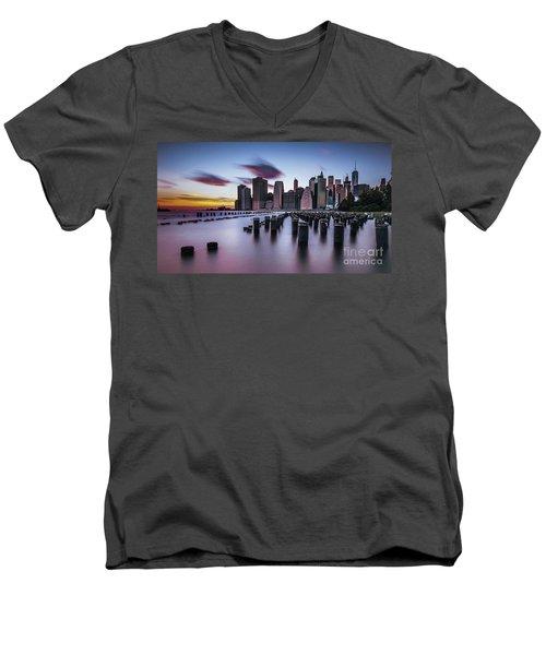 Lower Manhattan Purple Sunset Men's V-Neck T-Shirt