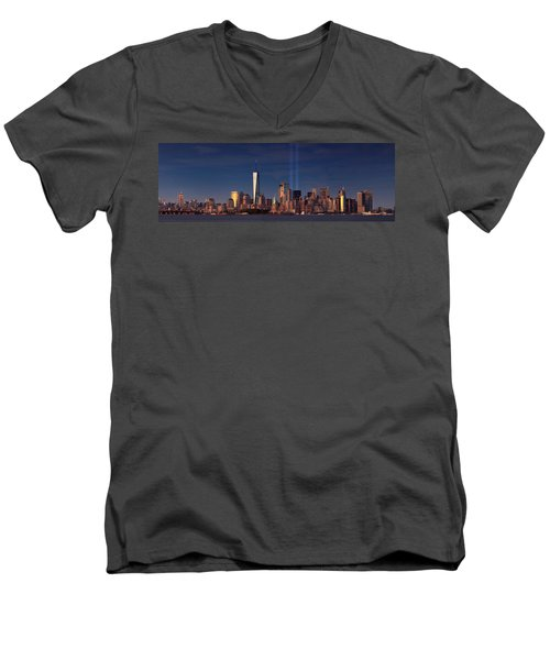 Men's V-Neck T-Shirt featuring the photograph Lower Manhattantribute In Light by Emmanuel Panagiotakis