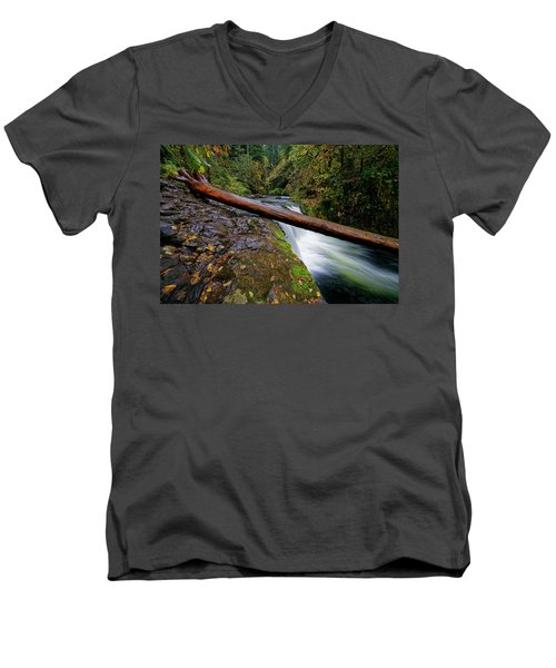 Men's V-Neck T-Shirt featuring the photograph Lower Punch Bowl Falls by Jonathan Davison