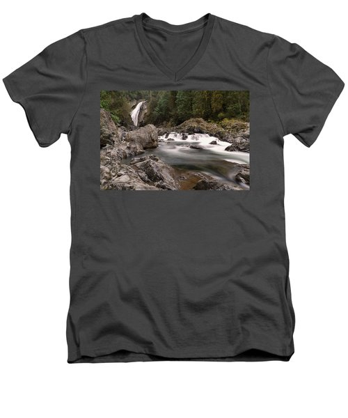 Men's V-Neck T-Shirt featuring the photograph Lower Twin Falls by Jeff Swan