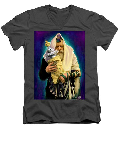 Lubavitcher Rebbe With Torah Men's V-Neck T-Shirt by Sam Shacked