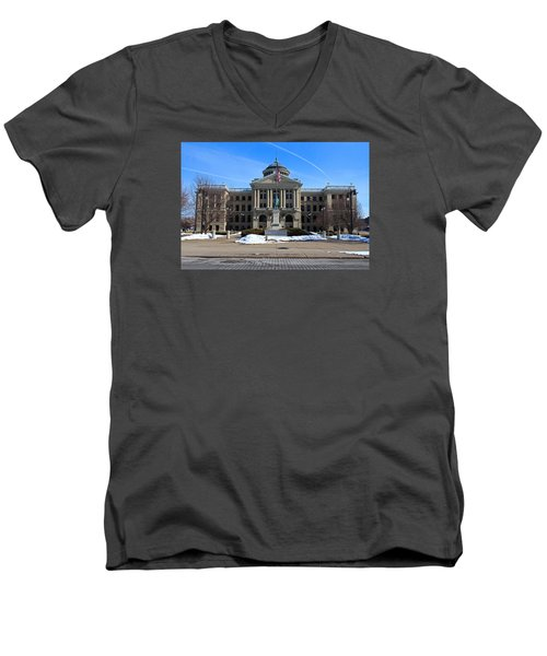 Men's V-Neck T-Shirt featuring the photograph Lucas County Courthouse I by Michiale Schneider