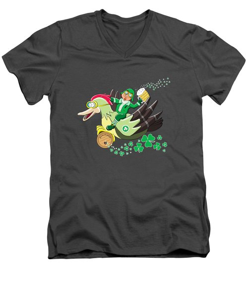 Lucky Leprechaun Men's V-Neck T-Shirt by David Brodie
