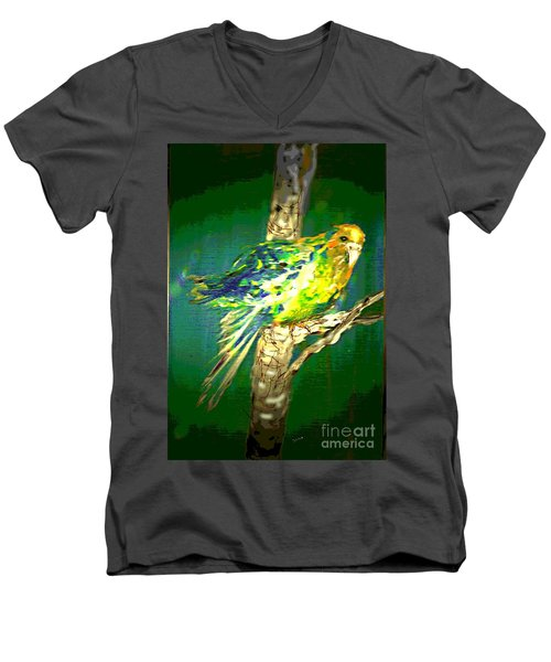 Men's V-Neck T-Shirt featuring the painting Lucky Louie by Desline Vitto