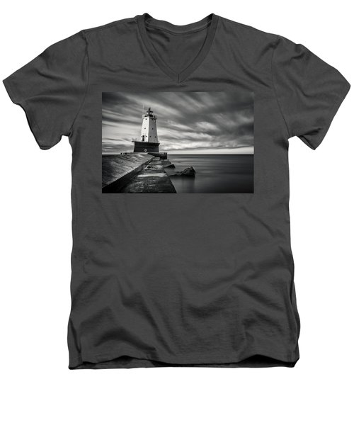 Men's V-Neck T-Shirt featuring the photograph Ludington Light Black And White by Adam Romanowicz